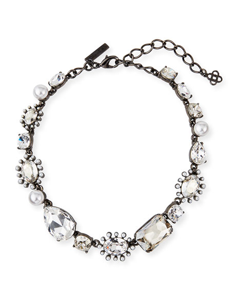 Bold-Mix Jeweled Necklace, Silver