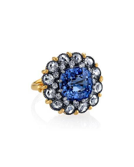 Sapphire Cake Ring w/ Rose-Cut Diamonds