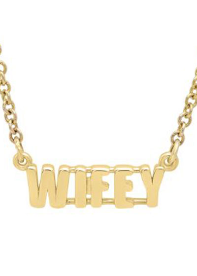 14k Gold WIFEY Pendant Necklace