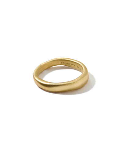 18k Gold Wide Squiggle Band Ring  Size 7