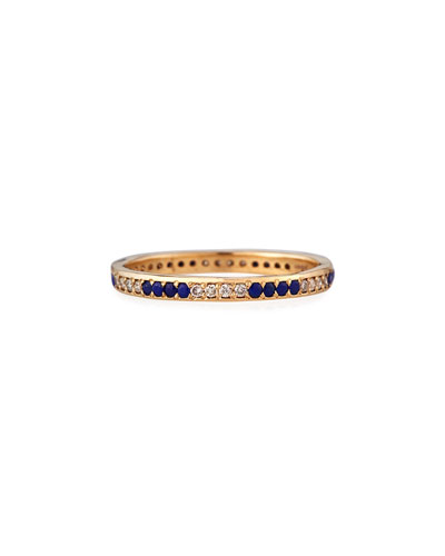 18k Rose Gold Lapis & Champagne Diamond Stack Ring  Size 6.5