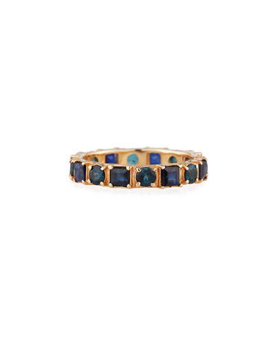 18k Rose Gold Blue Sapphire & Tourmaline Ring  Size 6.5
