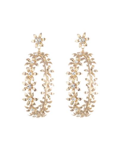 Amara Flower Hoop-Drop Earrings
