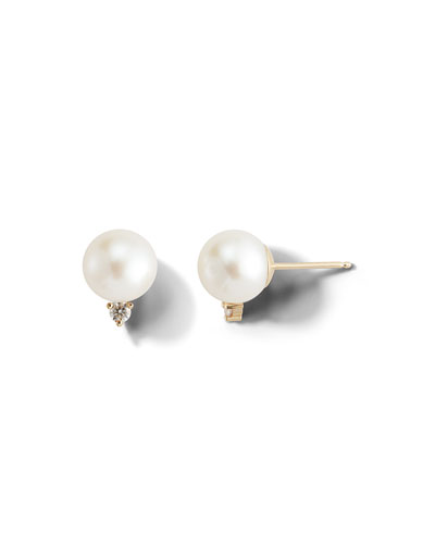 14k Large Pearl & Diamond Stud Earrings