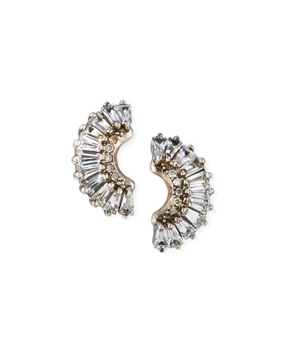 Old World Half-Moon Sapphire Earrings w/ Diamonds