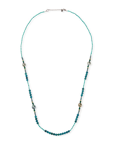 Old World Pearl Mixed-Bead Long Necklace  36L