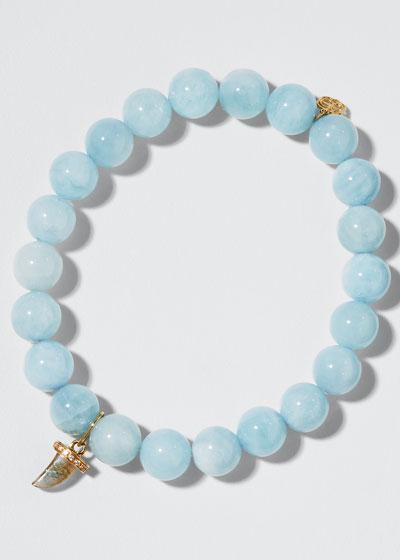 14k Diamond Eyelash Evil Eye Aquamarine Bracelet