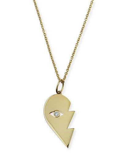 14k Split Heart Evil Eye Pendant Necklace  Right