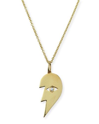 14k Split Heart Evil Eye Pendant Necklace  Left