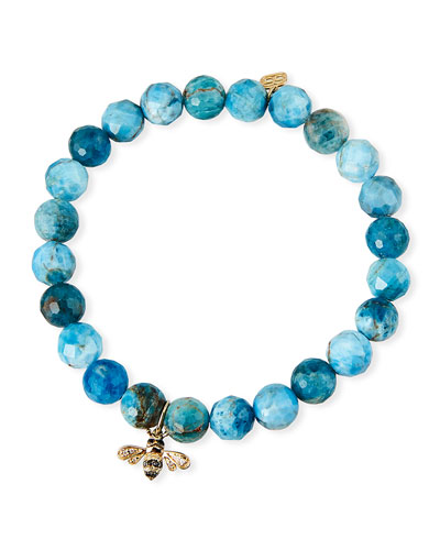 14k Two-Tone Diamond Bee & Apatite Bracelet