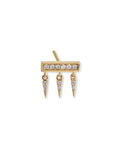 14k Diamond Pave Bar Fringe Stud Earring  Single
