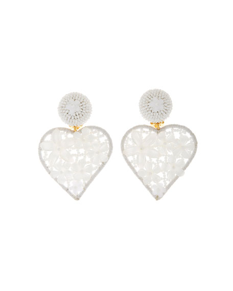 Image 1 of 1: Embellished Heart Clip Earrings