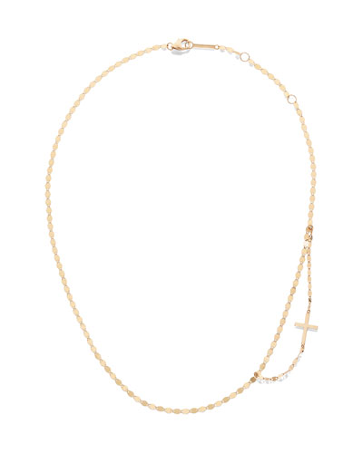 14k Double-Strand Side Cross Necklace