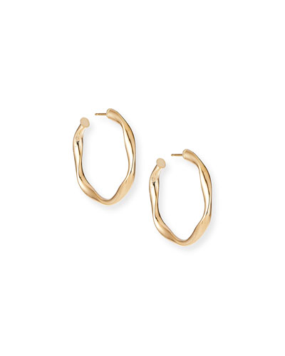 14k Wide Wave Twist Hoop Earrings