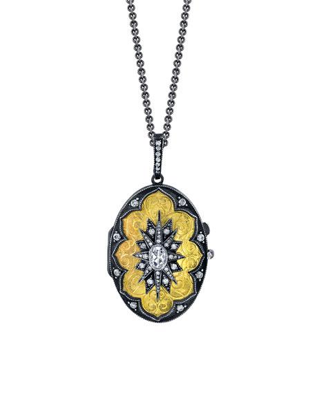 22k Diamond Oval Locket Necklace