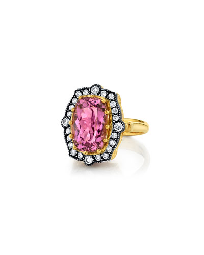 Pink Tourmaline Diamond-Trim Ring  Size 6.5
