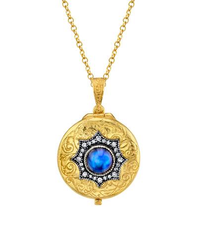 22k Moonstone Locket w/ Diamonds