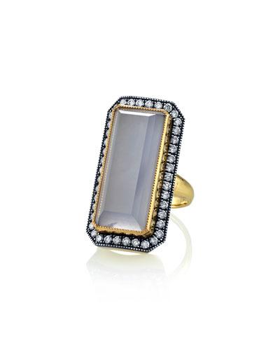Chalcedony Diamond-Trim Ring  Size 7