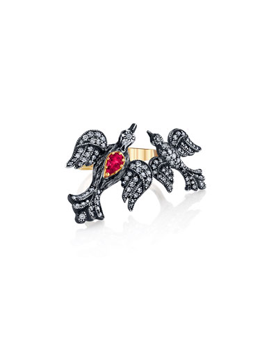 Mother-Child Diamond Bird Ring w/ Ruby  Size 7.5