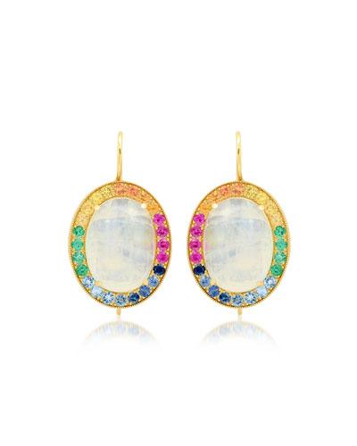 18k Rainbow Moonstone Oval Earrings