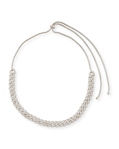Armure Pave Crystal Curb Chain Necklace