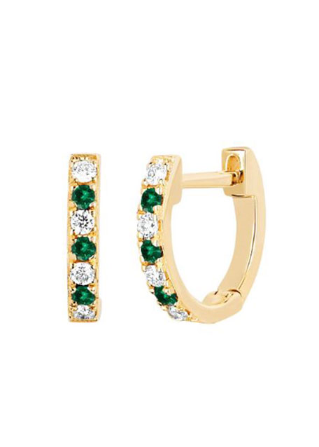 Image 1 of 1: 14k Rose Gold Diamond and Tsavorite Huggie Earring, Single