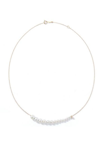 14k Graduated Pearl and Chain Necklace  16-18L
