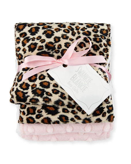 Swankie Blankie Cheetah Burp Cloth Set, Plain