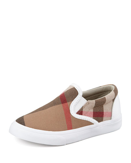 White Check Slip-On Sneaker, Kids Sizes