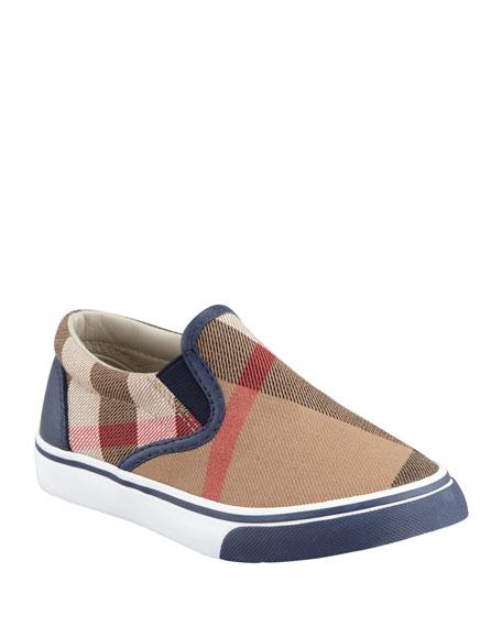 Burberry Navy Check Slip-On Sneaker, Kids' Sizes