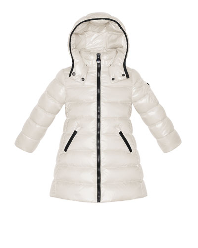 Moka Long Quilted Puffer Coat, Cream, Sizes 2-6