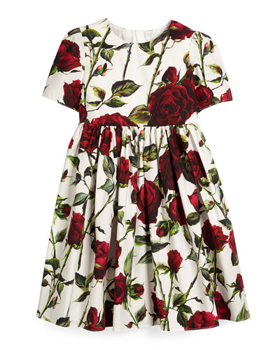 Short-Sleeve Rose-Print A-Line Dress, White/Red, Size 8-12