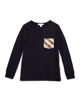 Long-Sleeve Check-Pocket Jersey Tee, Size 4-14