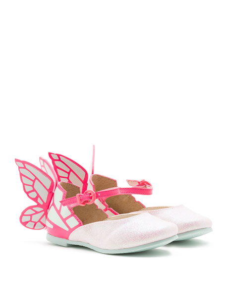 Chiara Leather-Trim Butterfly Mary Jane Flat, Pink, Toddler