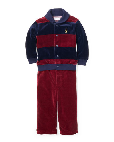 Velour Striped Jacket & Solid Pants, Size 9-24 Months