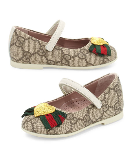 Gucci GG Supreme Heart Mary Jane Flat, Beige,