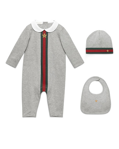 Gucci Web-Trim Jersey Coverall Gift Set, Gray, Size