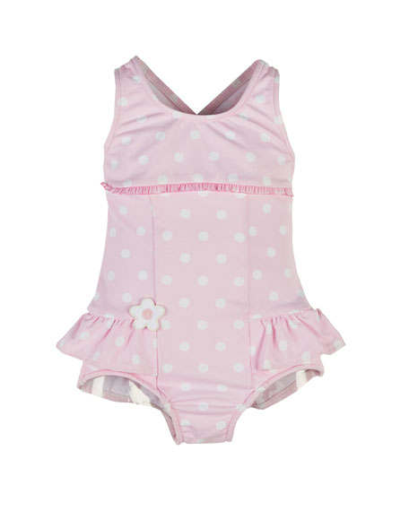 Polka-Dot One-Piece Swimsuit, Pink/White, Size 6-24 Months
