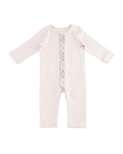 Merry Check-Trim Cotton Coverall, Powder Pink, Size 1-18 Months