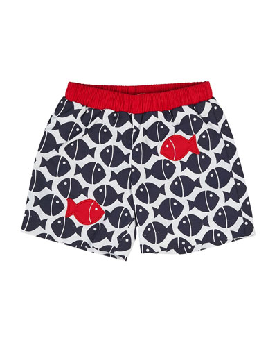 Fish-Print Swim Trunks, Navy, Size 6-24 Months