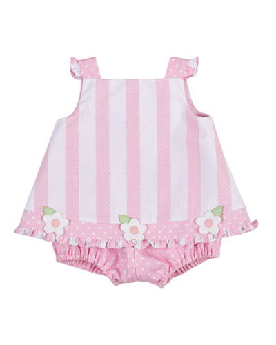 Sleeveless Striped Popover Romper, Pink/White, Size 3-24 Months