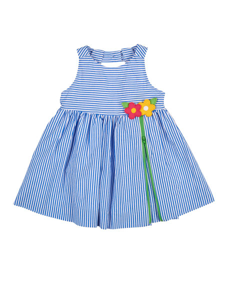 Sleeveless Striped Seersucker Dress, Blue/White, Size 2-6