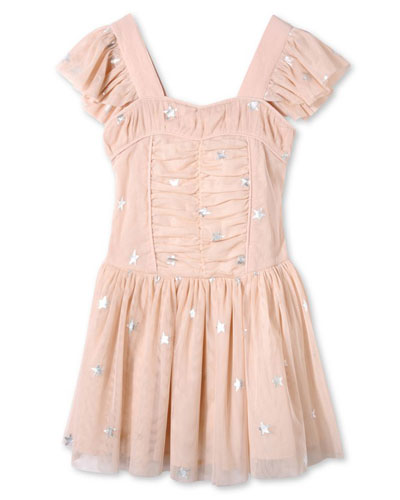 Jojo Sleeveless Star-Print Tulle Dress, Pink, Size 4-14