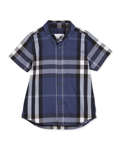 Fred Short-Sleeve Check Shirt, Thistle Blue, Size 4-14