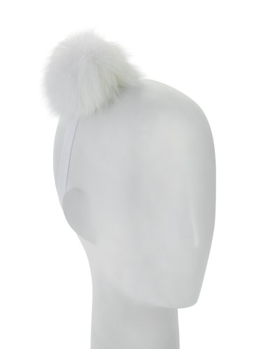 Stretch Pompom Headband, White