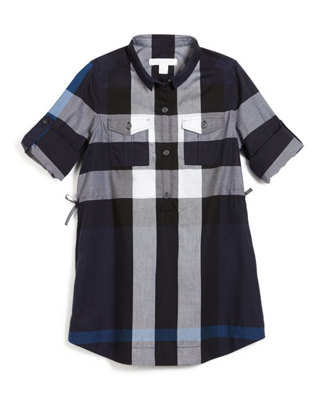 Darielle Long-Sleeve Check Shirtdress, Navy, Size 4-14