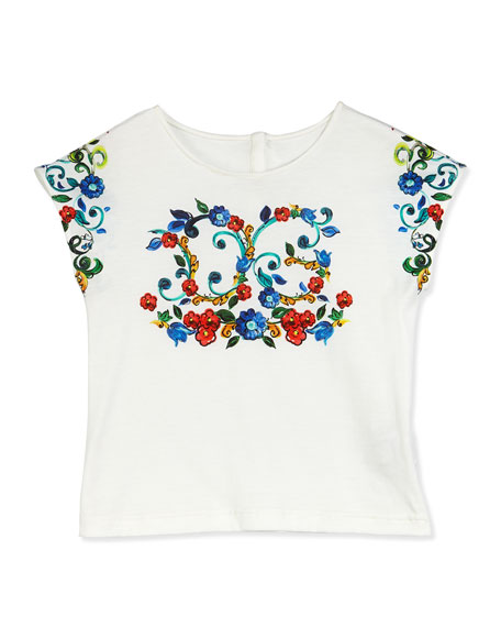 Floral Majolica Jersey Tee, White, Size 8-12