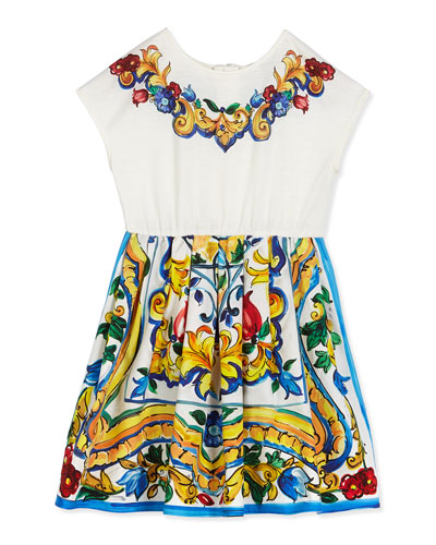 Floral Majolica Combo Dress, White, Size 8-12