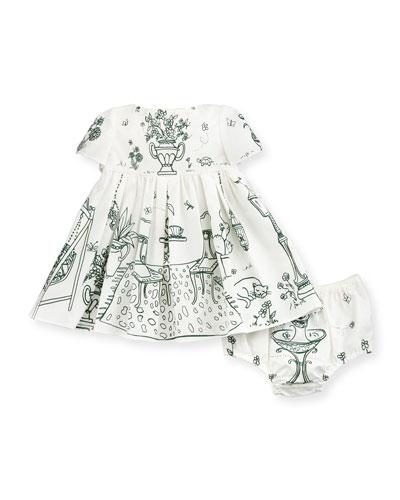 Short-Sleeve Poplin Botanical Garden Dress, White/Green, Size 3-24 Months