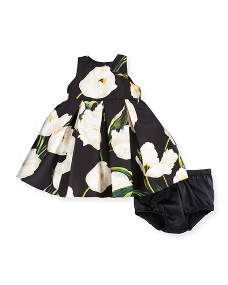 Sleeveless Pleated Mikado Tulip Dress w/ Bloomers, Black, Size 3-24 Months